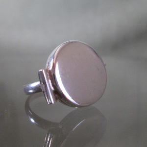 Modernist Memento Mori Ring Sterling Silver Sz 6.5